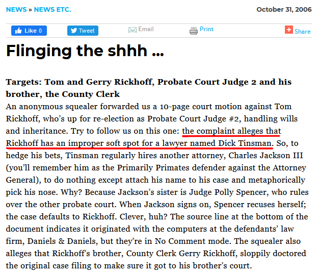"""From 2006, an article from the San Antonio Current indicates Judge Tom Rickhoff has """"an improper soft spot for a [male] lawyer..."""" This would make former Judge Rickhoff, who could find no other less restrictive means than to hand full control of Charlie's $3 Million's to yet another of CKL-Lawyers.com clients, a complete hypocritical sack of you-know-what, seeing as Rickhoff lectured Laura that Charlie's guardianship was all her fault for not having gotten married to Charlie before having sex. The utter contemptible irony of Tom Rickhoff, and his colluding brother, now also voted out of office, former County Clerk Gerry Rickhoff, should make everyone's stomach turn, given the power these two wielded, and the lives and finances of so many they have destroyed in Rickhoff's Probate Court, with Gerry's cover-up in the County Clerk's office. Disgusting nepotism."""