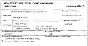 """Mayor of Shavano Park, attorney Robert """"Bob"""" Werner, makes a campaign donation to the Mayor's wife future employer, Oscar Kazen. On Jan 29, 2019, just 29 days after assuming his judgeship, Oscar Kazen awarded Charlie Thrash to the Mayor's wife - Mary Werner - via the guardianship Kazen removed from Charlie's common-law wife, Laura Martinez, and gave Charlie to Mary Werner, Oscar Kazen's political contributor, 3 block-away neighbor, and wife of teeny Shavano Park Mayor, where they all live. Ain't this Shavano Park livin' cozy?!"""