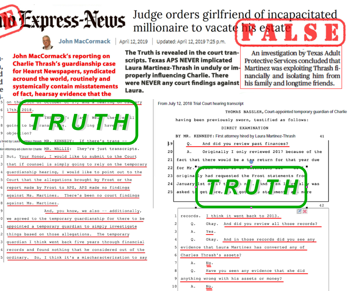 """April 12, 2019: San Antonio's Express-News, a Hearst newspaper, prints false information in Charlie Thrash's guardianship case. The Ex-News falsely claimed that """"An investigation by Texas Adult Protective Services concluded that Martinez was exploiting Thrash financially and isolating him from his family and longtime friends."""" NOTHING COULD BE FURTHER FROM THE TRUTH -- and the court hearing transcripts PROVE Laura Martinez-Thrash's innocence."""