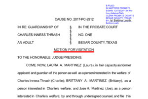Dec 7, 2020: A Motion for visitation is filed to allow Charlie Thrash to be able to visit with his common-law wife, Laura Martinez, who he hasn't been allowed to see since March 6, 2019