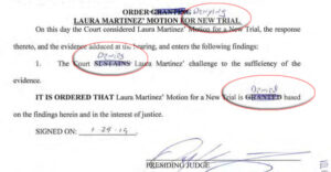 Jan 29, 2019: Order denying Laura Martinez' request for a new trial