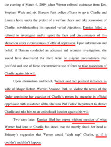 From March 16, 2019 Verified Objection Rebuttal to Report of Court investigator filed by Phil Ross on March 16, 2019 as attorney for and on behalf of Laura and Brittany; Court investigator Elaine Damian ignore all documented evidence against Mary Werner's adverse actions towards her court-awarded Ward, Charlie Thrash.