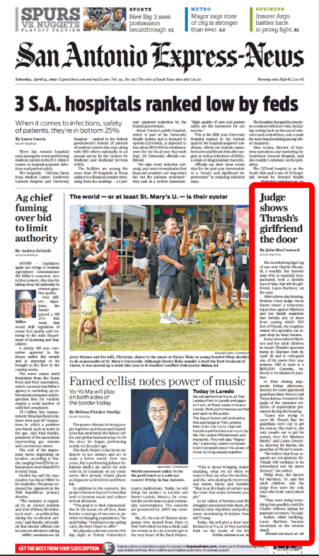April 13, 2019 San Antonio Express-News frontpage placement and its print-version headline for John MacCormack's article in Charlie Thrash's case