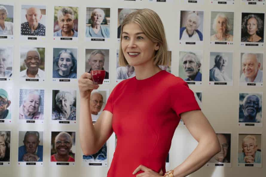Actress Rosamund Pike, depicting fictional guardian Marla Grayson, in Netflix-produced movie, I CARE A LOT.